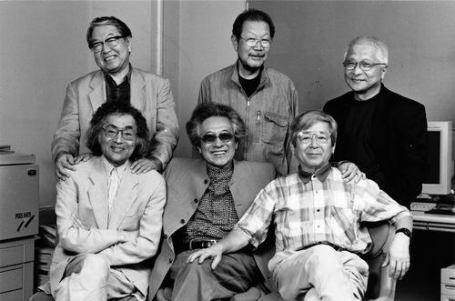 Members of Vivo, in 2001. In clockwise order from the top left: Eikoh Hosoe, Shomei Tomatsu, Kikuji Kawada, Akira Sato, Ikko Narahara and Akira Tanno. Photo by Shu Sakurai